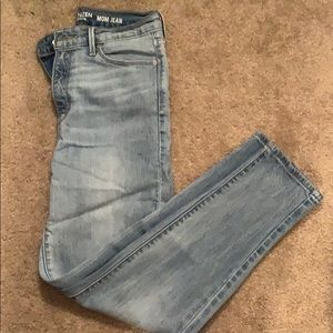 High rise light wash mom jeans